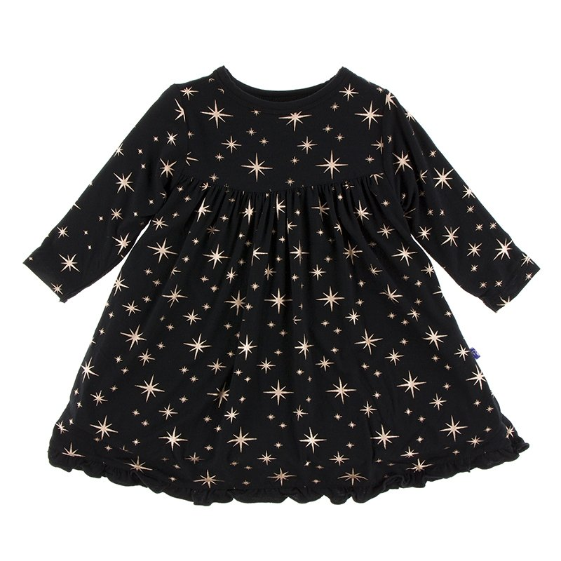Classic Long Sleeve Swing Dress, Rose Gold Bright Stars