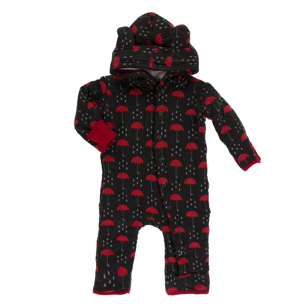 Printed Quilted Hoodie Coverall with Sherpa-Lined Hood, Umbrellas and Rain Clouds with Candy Apple