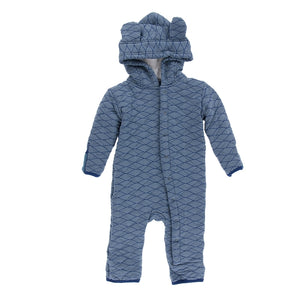 Print Quilted Hoodie Coverall with Sherpa-Lined Hood (Dusty Sky Tides / Navy)