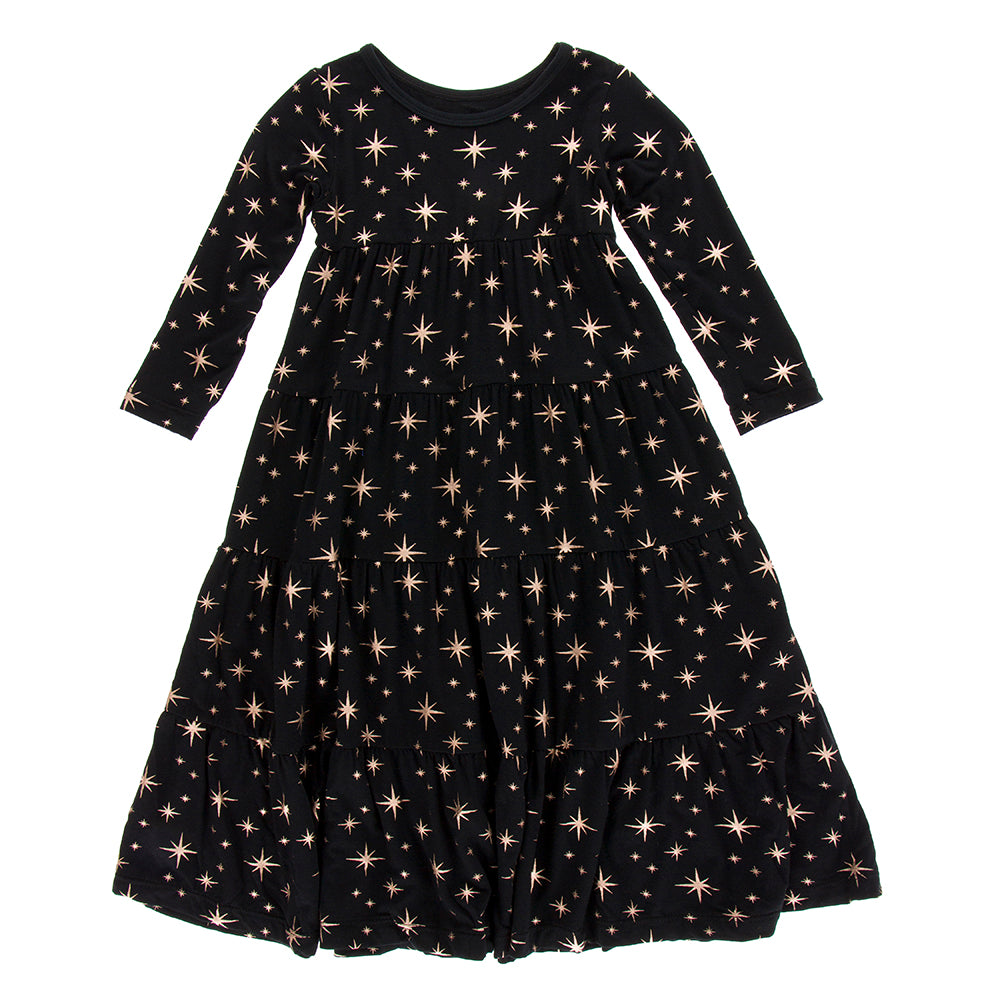 Long Sleeve Tiered Dress, Rose Gold Bright Stars