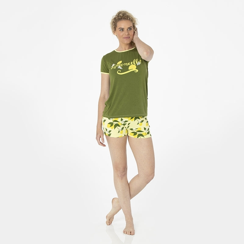 8761ecd90 Women's Print Fitted Pajama Set with Shorts, Lime Blossom Lemon Tree ...