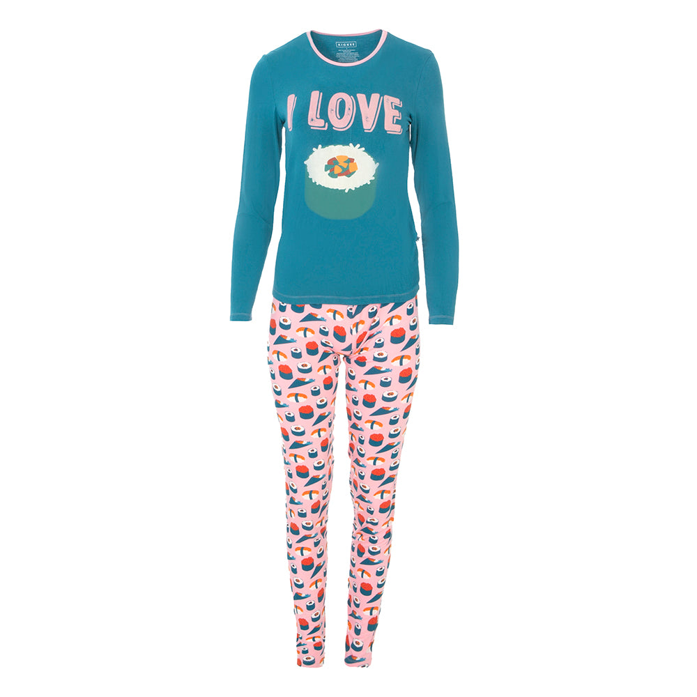 Women's Long Sleeve Loosey Goosey Tee & Pant Set, Lotus Sushi