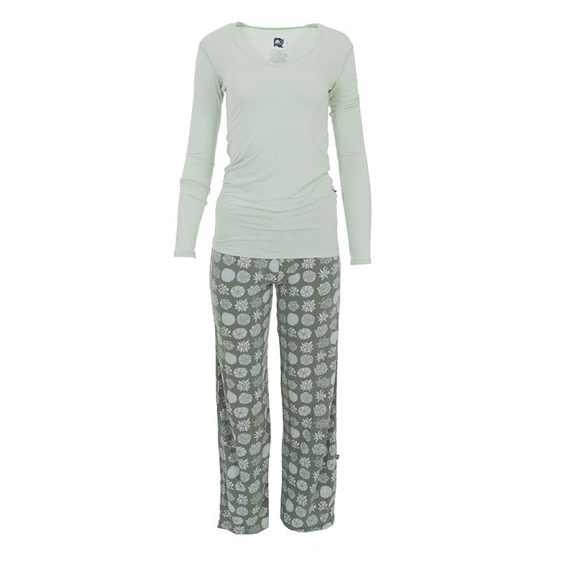 Women's Long Sleeve Fitted Tee & Pant Set, Succulent Plants