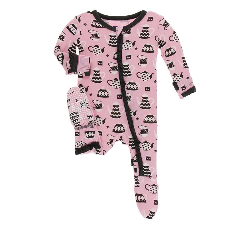 Print Muffin Ruffle Footie with Zipper, Teatime