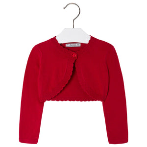 Mayoral Basic Knitted Cardigan Shrug Sweater, Red