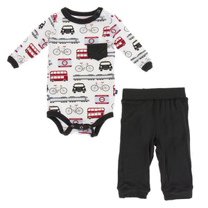 Print Long Sleeve Pocket One Piece and Pant Outfit Set, London Transport