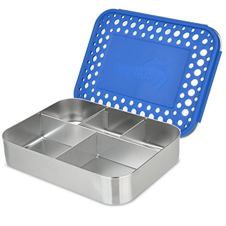 Lunchbots 5 Section Bento Box, Blue Dot