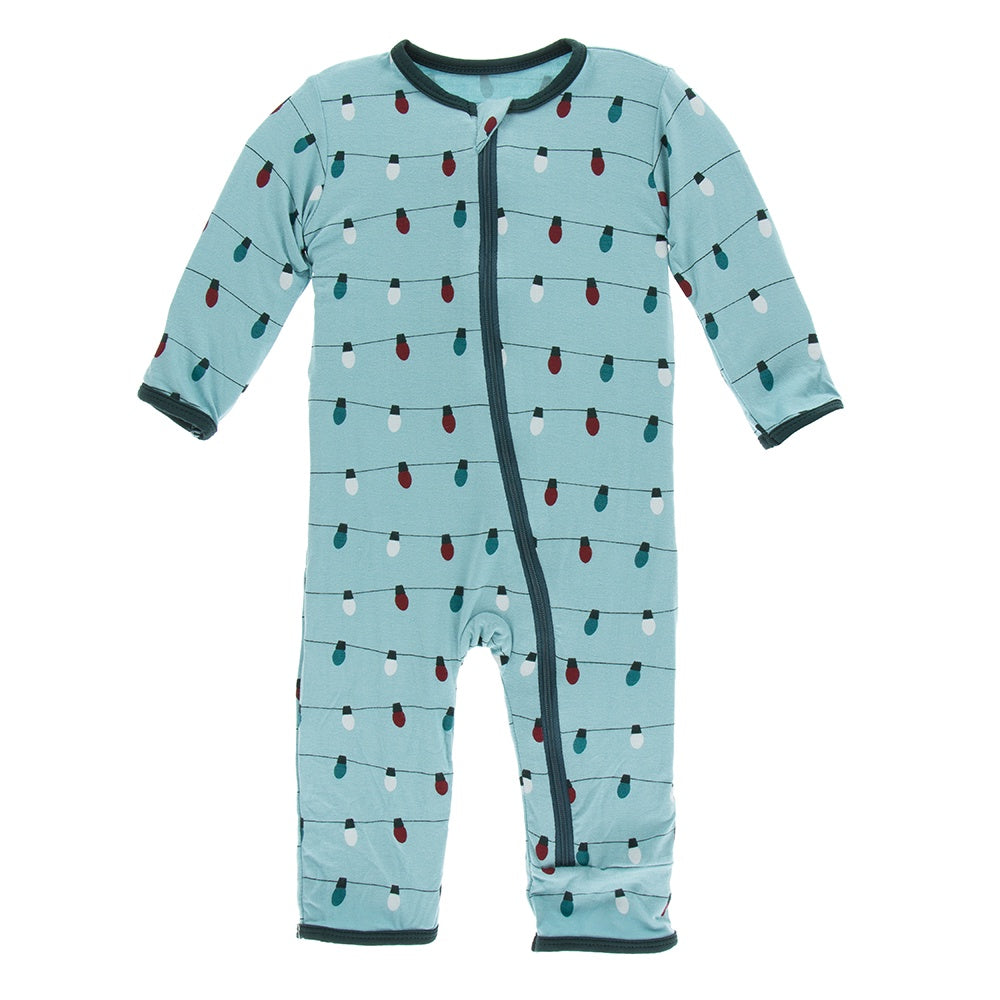 Print Coverall with Zipper, Glacier Holiday Lights
