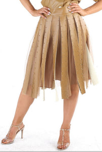 Faux Leather Tulle Skirt
