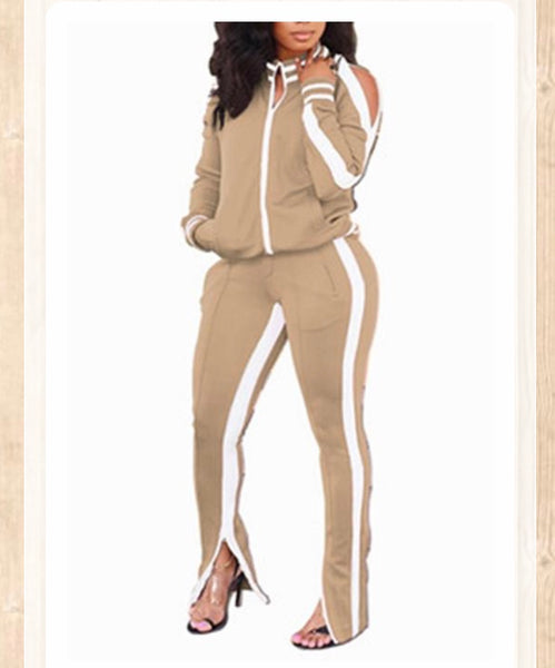 Jogger Suit with Cold Shoulder