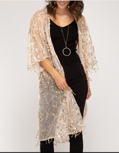 Sheer Sequin Shingle Cardigan Medium