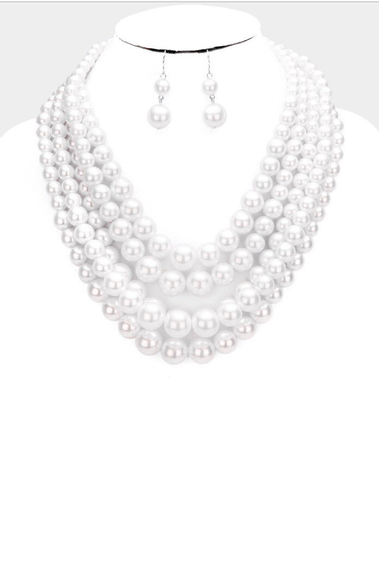 Four Strand Pearl Set
