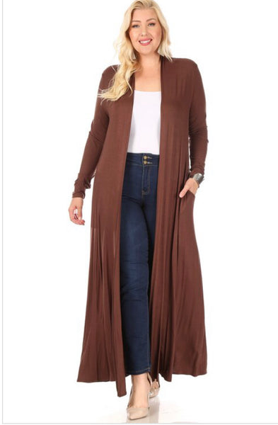 Long Trench Style Cardigan