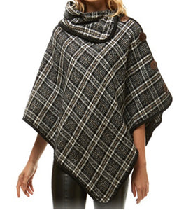 Plaid Button Poncho