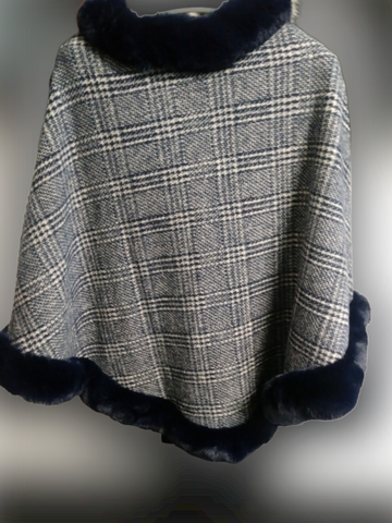 Navy Plaid Faux Fur Shawl