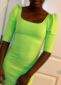Neon Green Puff Shoulder Dress
