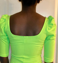 Load image into Gallery viewer, Neon Green Puff Shoulder Dress