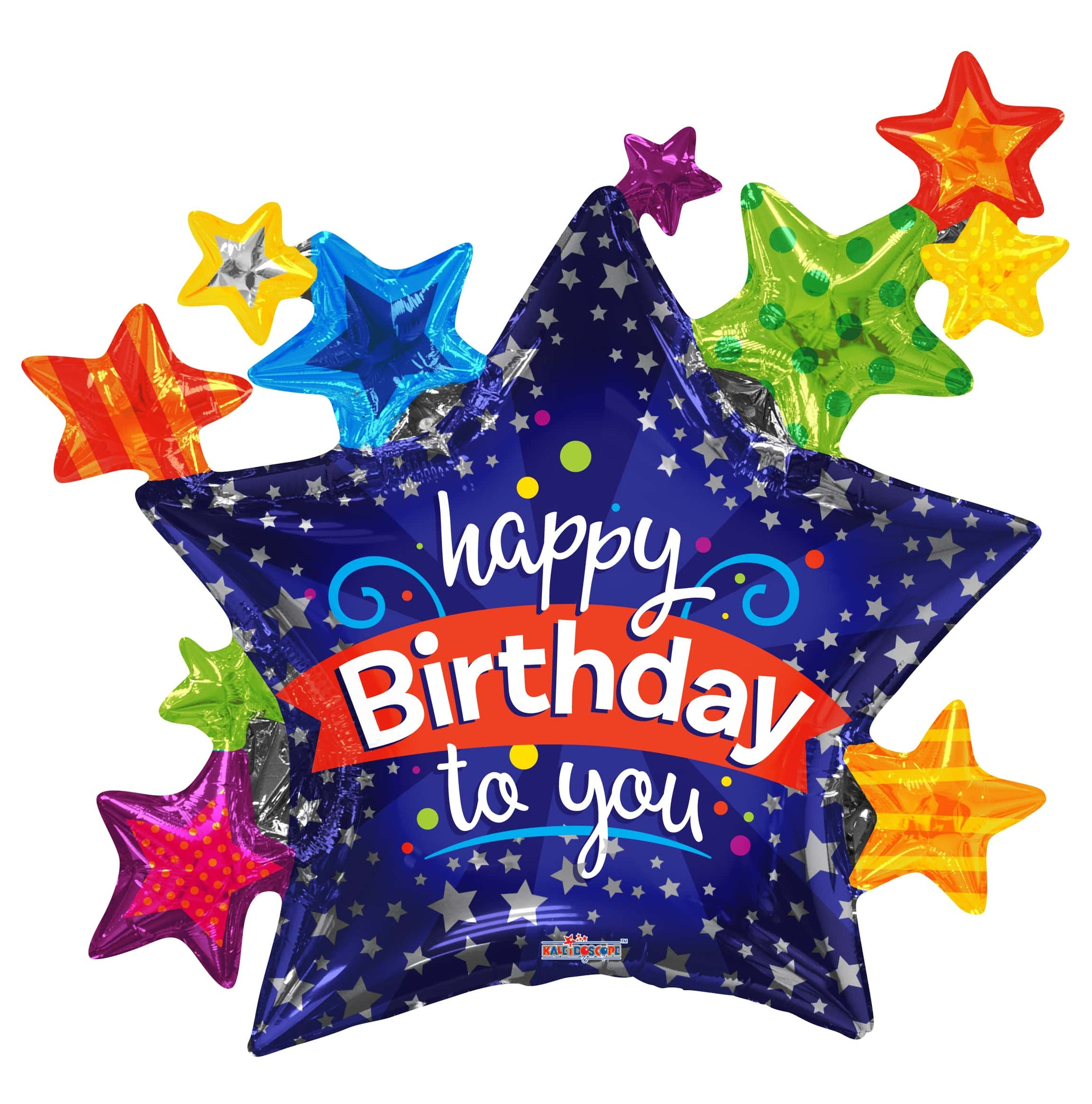 Happy Birthday to you - Multi Stars Balloon 36""
