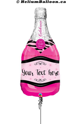 Personalized Celebrate Champagne Pink & Black Balloon 39 inches
