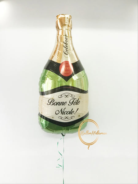 Personalized Celebrate Champagne Green & Gold Balloon 39 inches