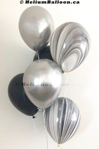 "Bouquet 6 Latex Balloons 11"" Silver & Black"