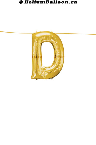 "Make Your Own Balloon Banner / Name / Phrase... - Gold Letters 16"" - Air Filled Only"