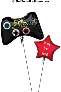 "Personalized Star With Super Game Controller - Mylar 28"" Balloon"