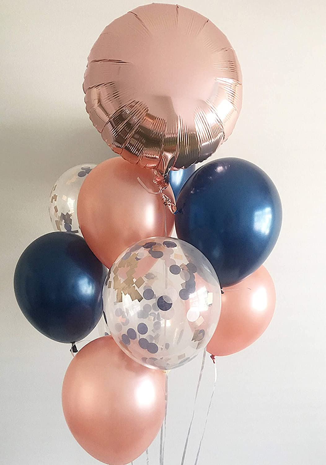 Bouquet 7 Balloons Rose Gold - Dark Blue & Confetti