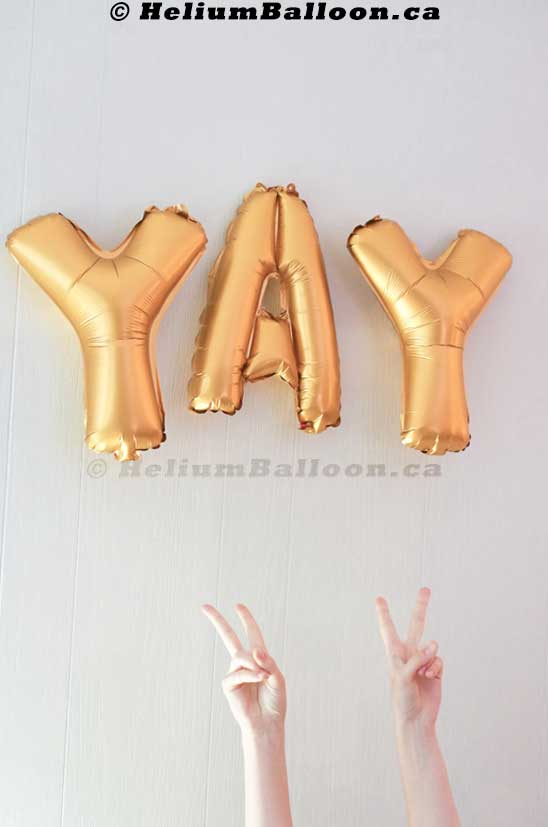 YAY gold balloon banner _  Delivery baloon montreal