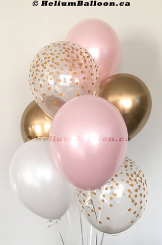 "Bouquet 6 Latex Balloons 11"" Gold & Pink"