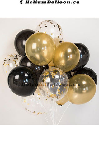 Bouquet 6 Balloons Gold - Black & Confettis