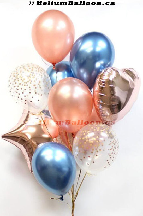 Bouquet 11 Balloons Rose Gold - Chrome Blue & Confetti