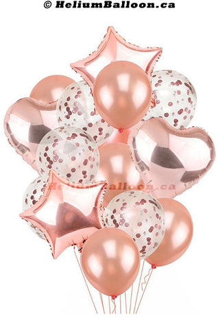 Bouquet 8 Balloons Rose Gold