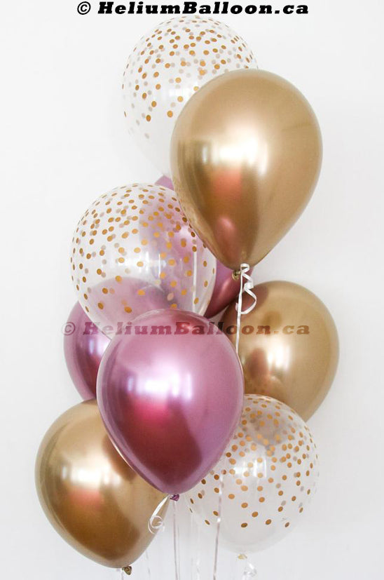 Bouquet 9 Balloons Gold & Pink Chrome & Confetti