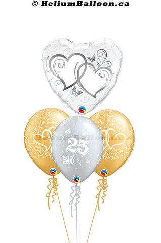 Bouquet Wedding  25th Anniversary Silver Hearts 25