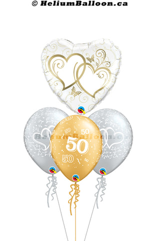 Bouquet Wedding 50th Anniversary Gold Hearts
