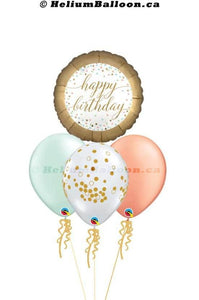 BQM3B0065-Happy birthday rose gold confetti mint helium balloon bouquets Delivery Montreal By HeliumBalloon.ca