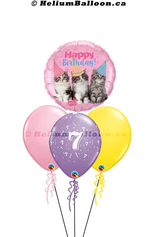 BQM3B0070 cute _three Cats_Happy birthday helium balloon bouquets Delivery Montreal By HeliumBalloon.ca