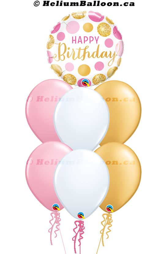 BQM6B0015-Happy birthday pink gold white confetti helium balloon bouquets Delivery Montreal By HeliumBalloon.ca