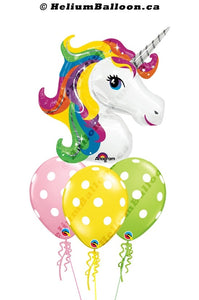 Magical Unicorn helium balloon Bouquet Montreal delivery Helium balloons bouquets Montreal