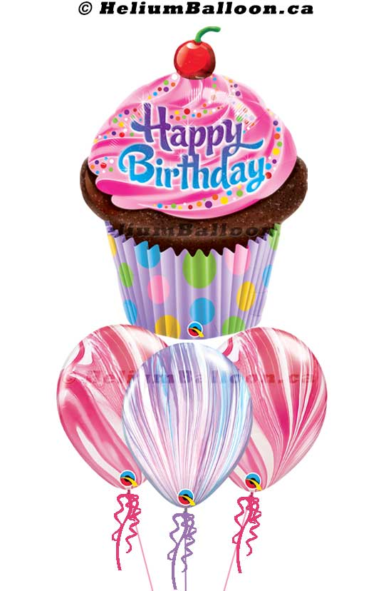 BQS3B0063-Happy birthday muffin pink marble helium balloon bouquets Delivery Montreal By HeliumBalloon.ca