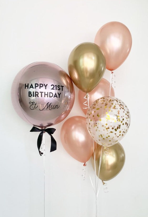 "Personalized Balloon With Bouquet 6 Latex Balloons 11"" Rose Gold, Chrome Gold  & Confetti"