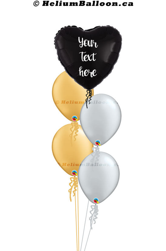 Personalized Balloon Bouquet - Heart Metallic Balloon 17'' ( Colors Available )