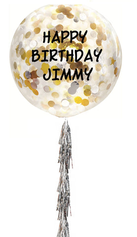 "Personalized Clear Balloon (B) - Confettis 34"" With Tassel"