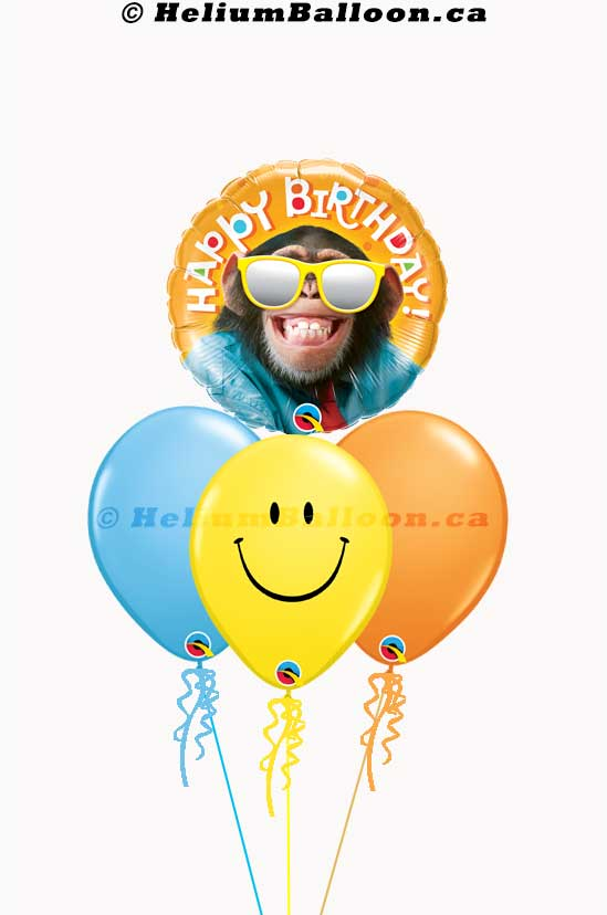 Funny Monkey Smiling Happy Birthday Balloon Bouquet _ Balloon montteal delivery