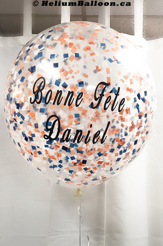 Personalized Clear Balloon (A) - Confettis 24""