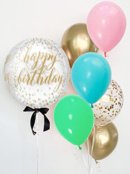 Happy Birthday - Confetti & Gold - Orbz Balloon 16""