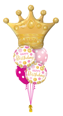 Birthday Bouquet Crown - Pink & Gold