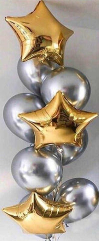 Bouquet 3 Gold Stars With 6 Silver Chrome Balloons