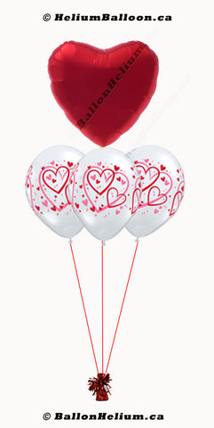 Red Heart Balloon Bouquet
